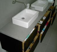 Waschtisch für Doppelwaschbecken mit Steinplatte